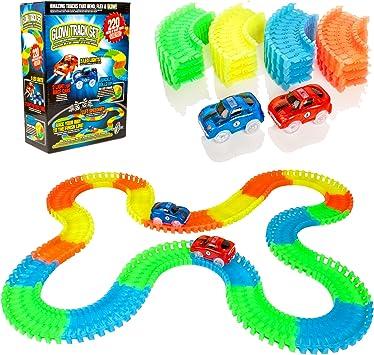 Raci... Create-A-Track 220 Piece Flexible Race Track /& 2 Light Up Cars Playset