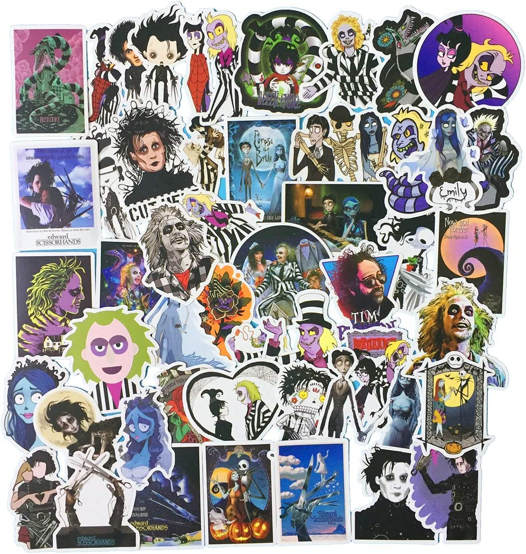 Tim Burton's The Nightmare Before Christmas Movies Theme Stickers Laptop Stickers Waterproof Skateboard Snowboard Car Bicycle Luggage Decal 50pcs Pack