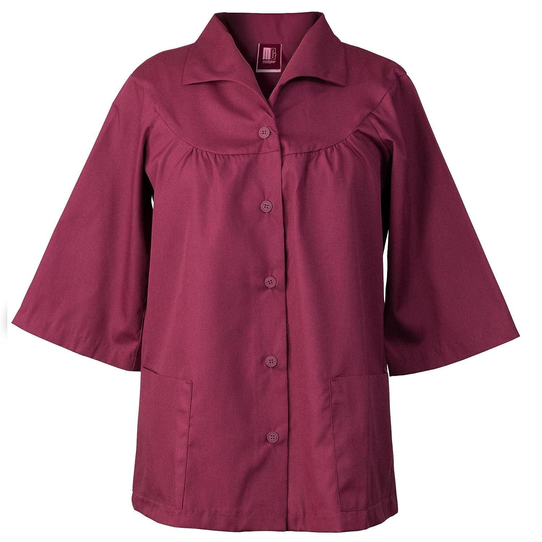 b4ebba5ffda6a Women\'s Smock Scrubs Button Down Shirt 3/4 Sleeves 2 Bottom Patch Pockets  65% Polyester, 35% Cotton