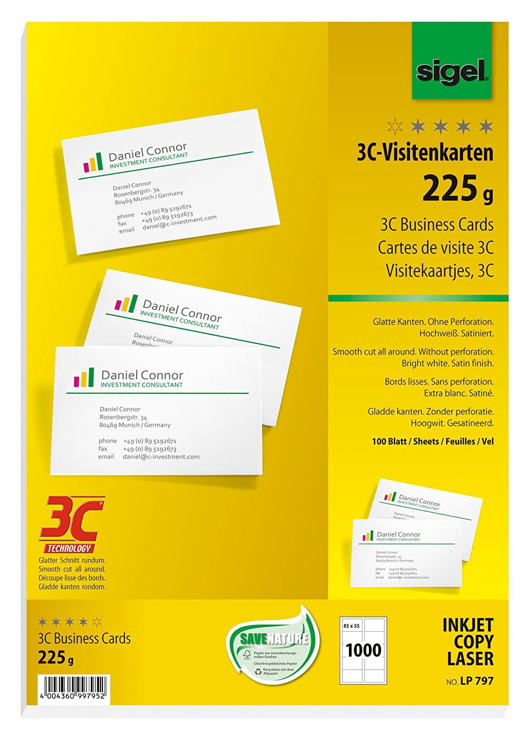 Sigel 225g 85 x 55mm A4 3C Business Cards - Bright White (100 Pieces) LP795