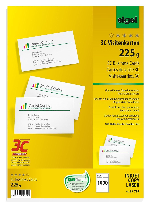 Sigel LP796 Biglietti da visita, 3C, con taglio netto tutt'intorno, bianco, 85x55 mm (A4), 225 g, 400 pz.=40 fg.