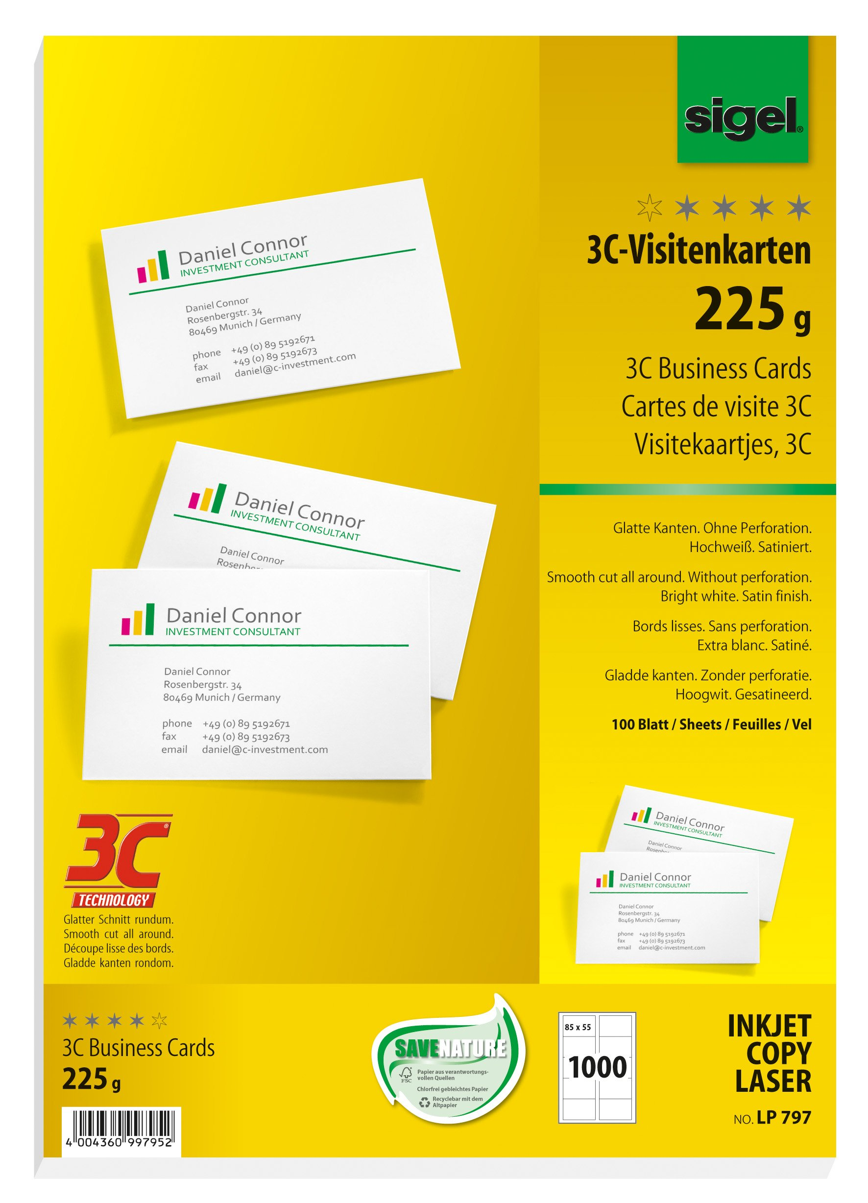 Sigel LP797 Business Cards, 3C, smooth cut all around, 152.0 lbs, bright white, 1000 pcs.