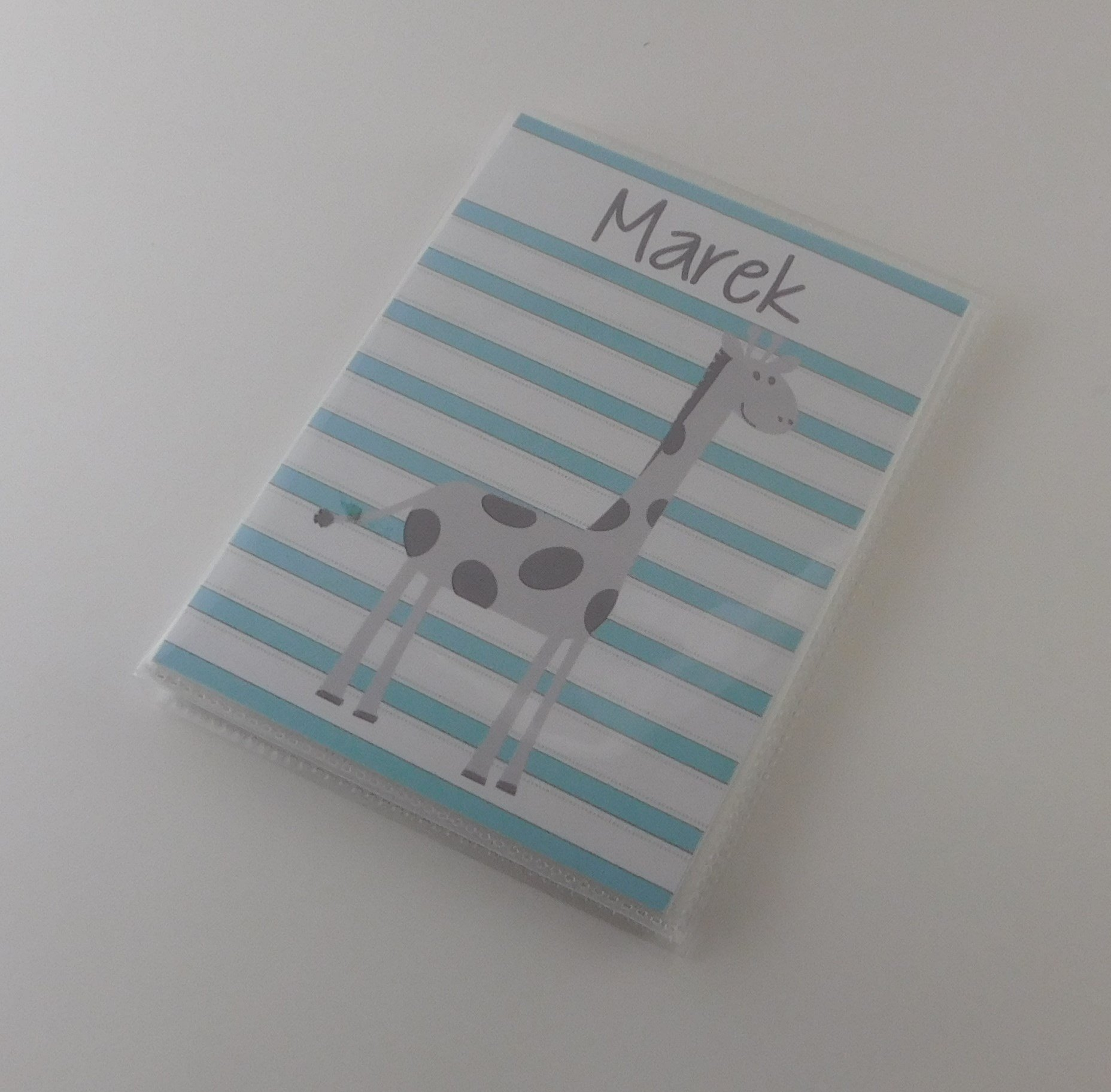 Photo Album IA#754 Giraffe Personalized Baby Shower Gift Blue 24 Pictures 4x6 5x7