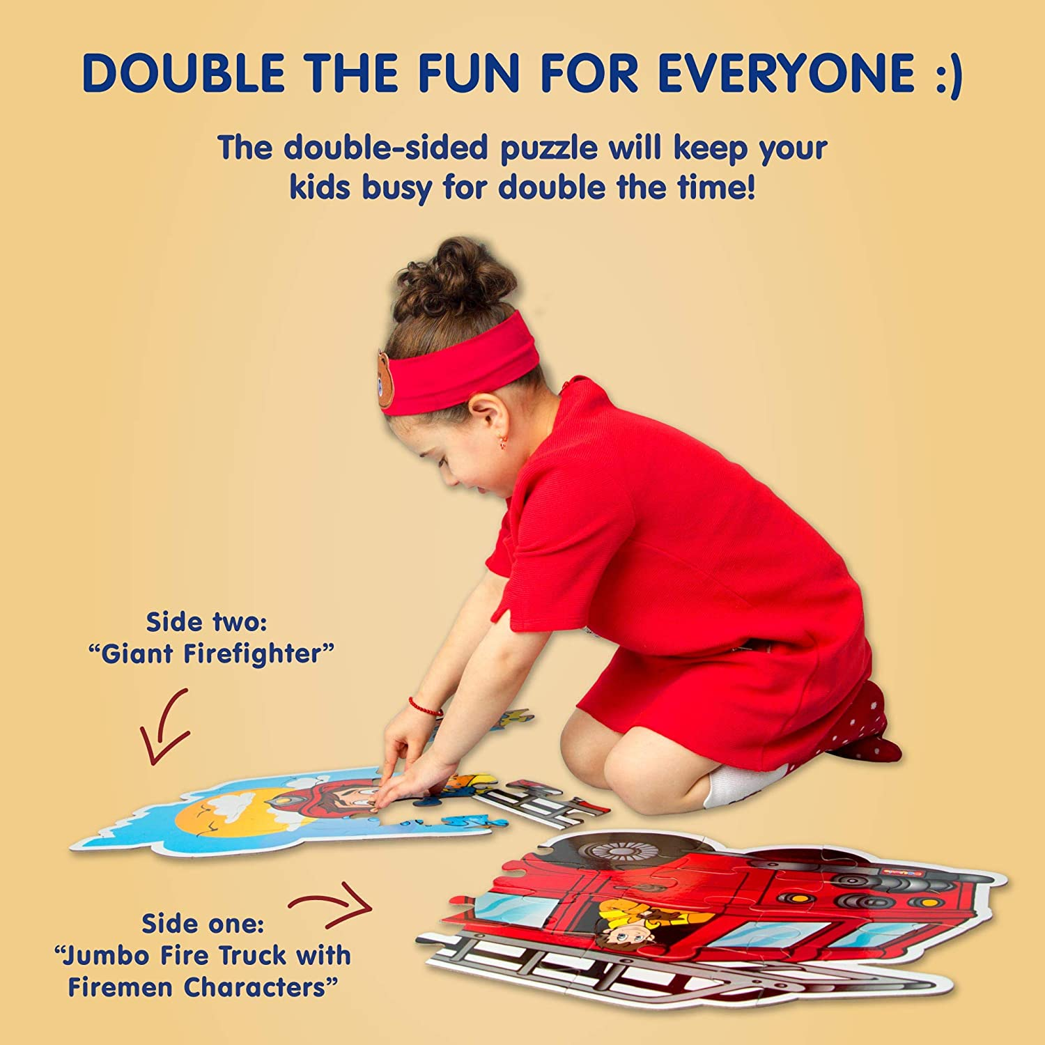 2 Sided Floor Puzzle for Kids Ages 3-5 Birthday Gift for Boys and Girls. Firetruck + Campfire Big Red Fire Engine 24 Extra Large Pieces, 3 Feet Long, Sturdy Cardboard, Fire Truck Shaped