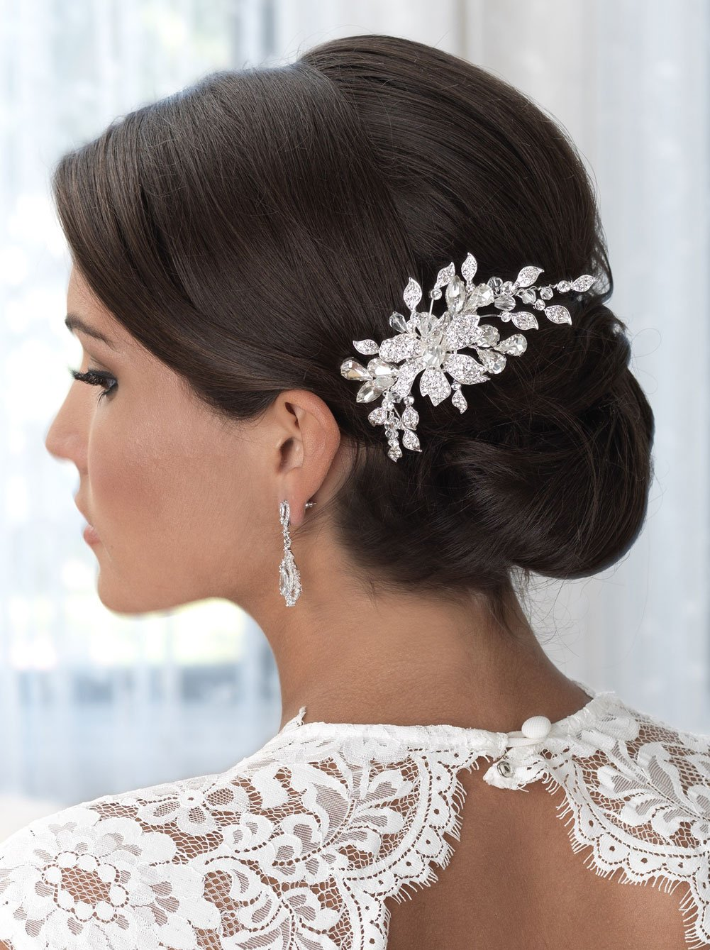 USABride Silver-Plated Crystal and Rhinestone Floral Wedding Hair Comb 2263 by USABride