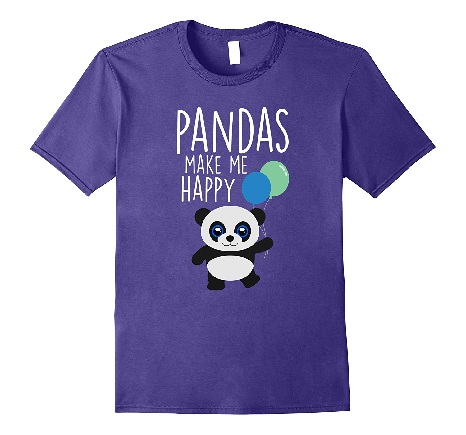 Pandas Make Me Happy T-Shirt Girls Boys Gift Tee-Rose