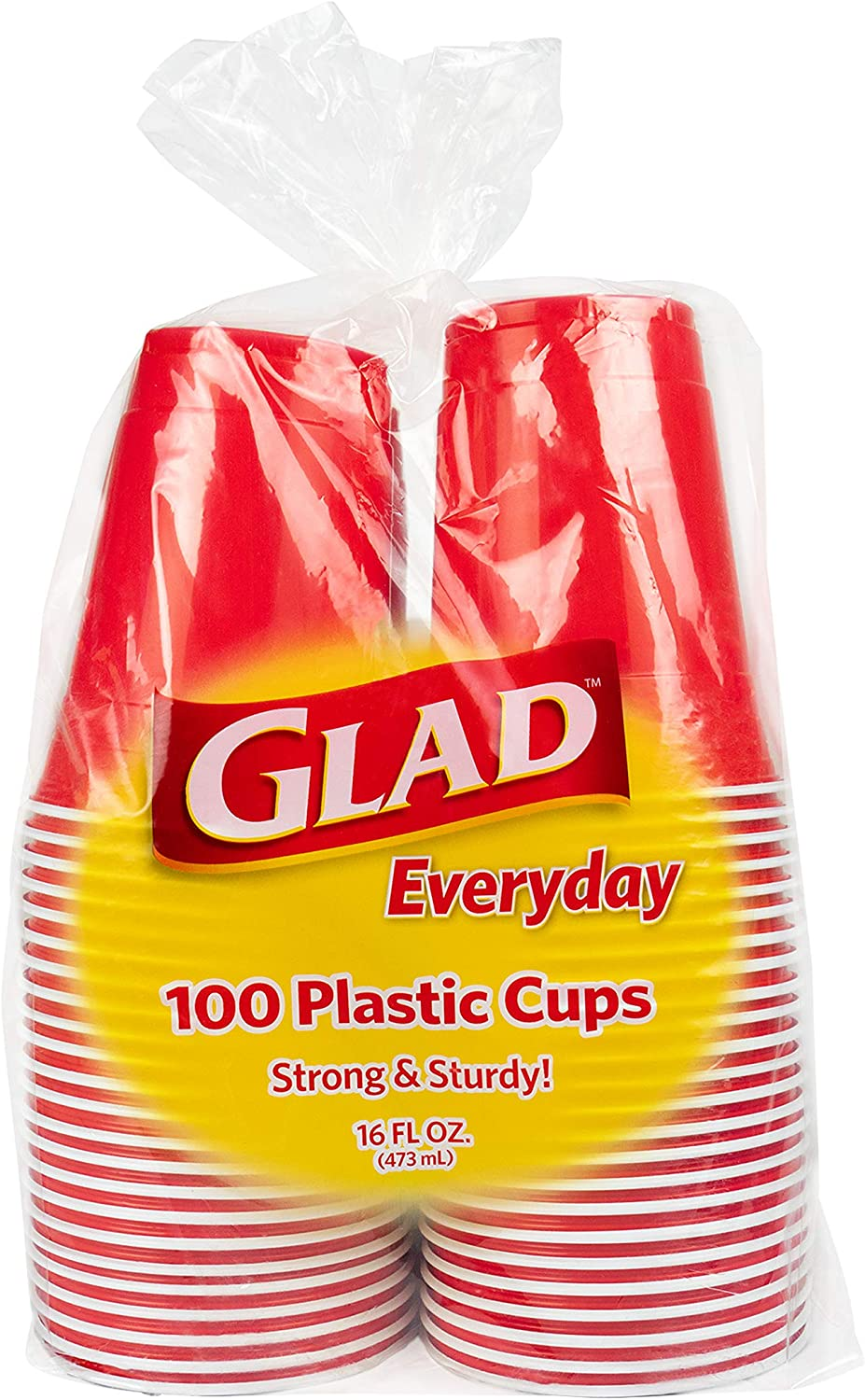 Glad Everyday Disposable Plastic Cups | Red Plastic Cups, 100 Count | Strong and Sturdy Red Plastic Party Cups for All Occasions, Holds 16 Ounces