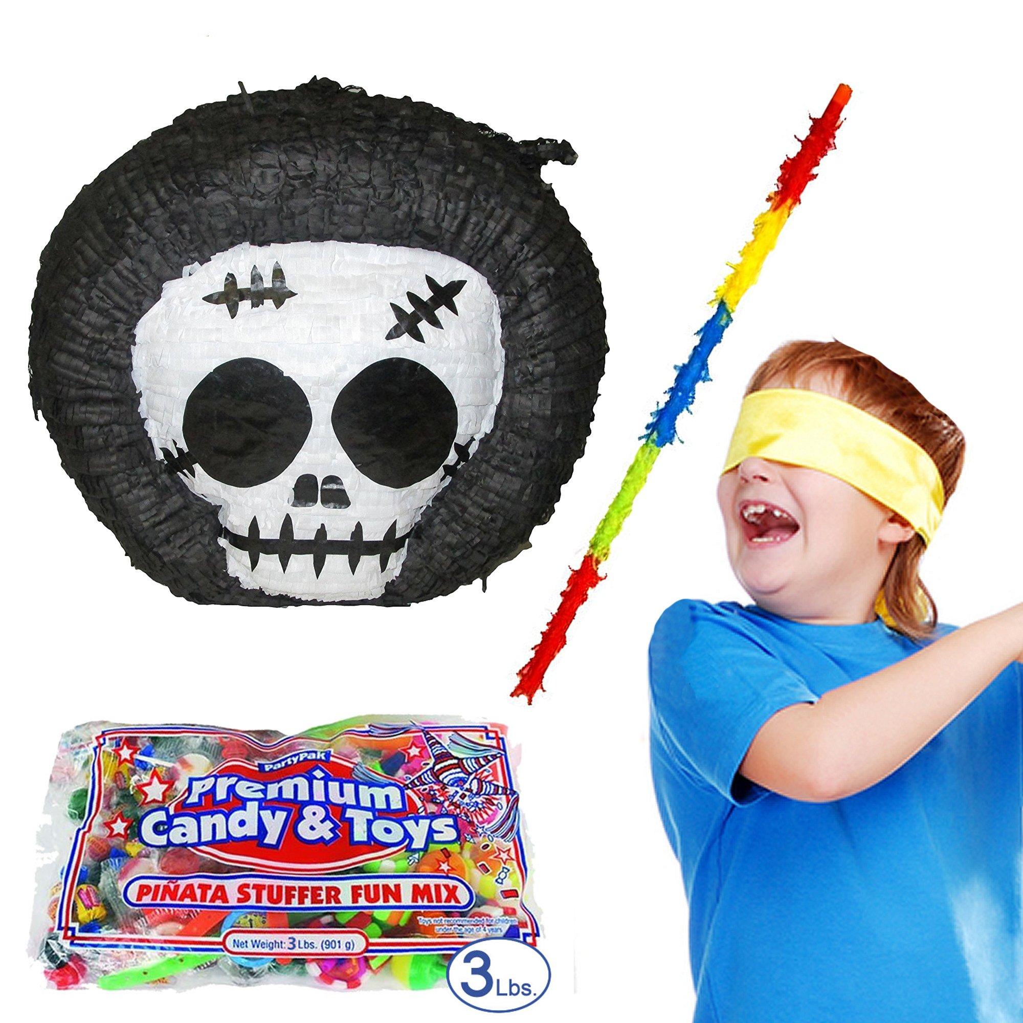 Pinatas Grim Reaper Halloween Pinata Kit Including Pinata, Buster Stick, Bandana, Toy and Candy Filler, 3 lb. by Pinatas (Image #1)