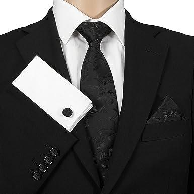 35dce15e7fa6 GASSANI 3- Set Schwarze Krawatte   Einstecktuch Manschettenknöpfe-Binder  Schmale Kravatte zum Anzug Verlobung