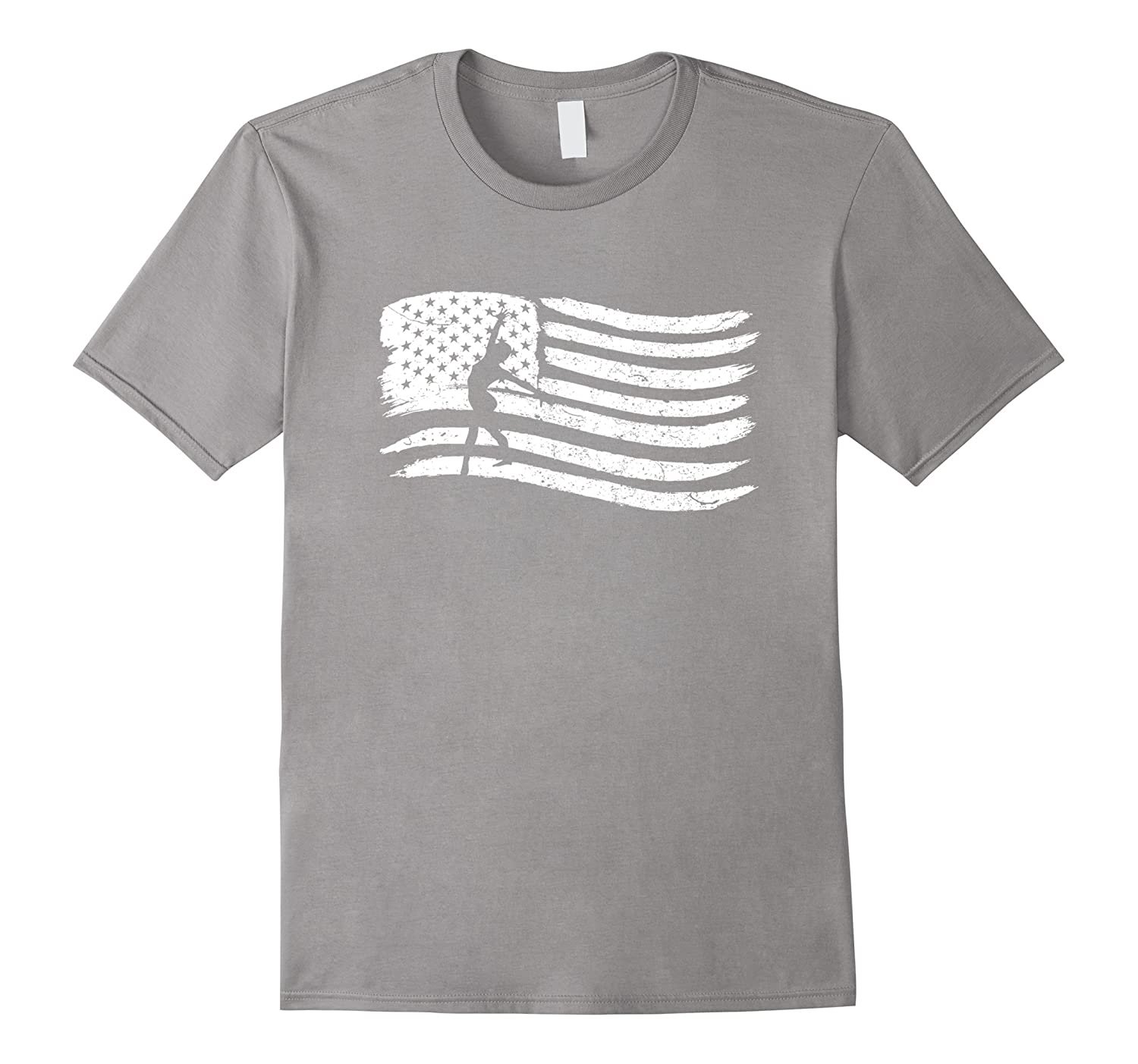 American Flag T-Shirt With Gymnast Woman Vintage Look-PL