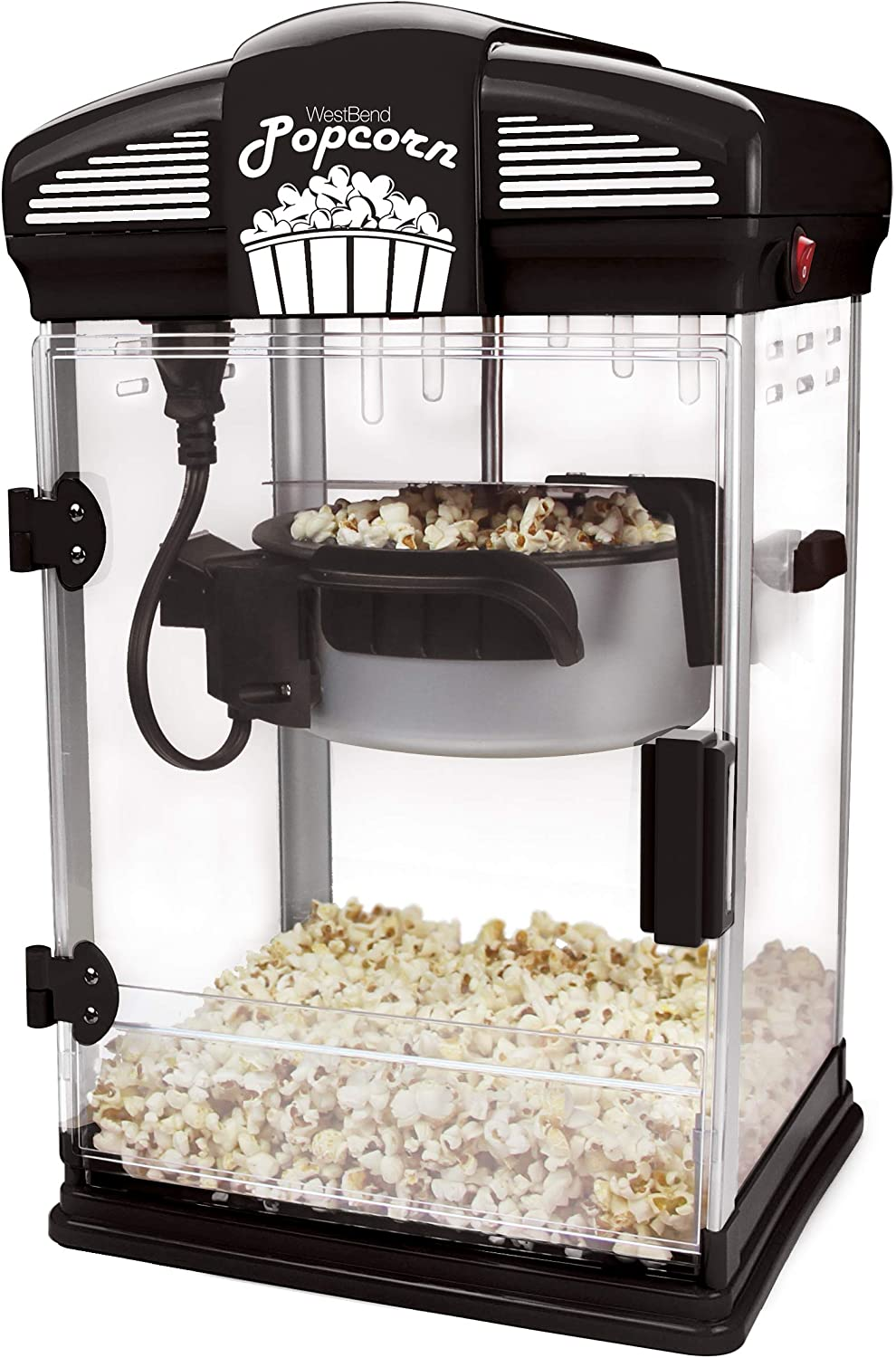 West Bend Hot Oil Theater Style Popper Machine with Nonstick Kettle Includes Measuring Cup and Popcorn Scoop, 4-Quart, Black