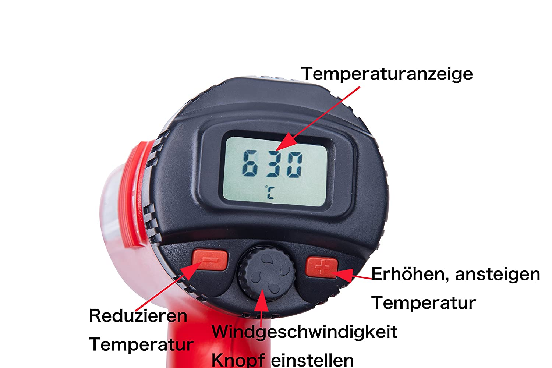 Temperatura Regolabile in Continuo da 50/° C~630/° C inclus LCD e 4 Pz Resistente al Calore Ugelli Pistola ad Aria Calda 1800 W