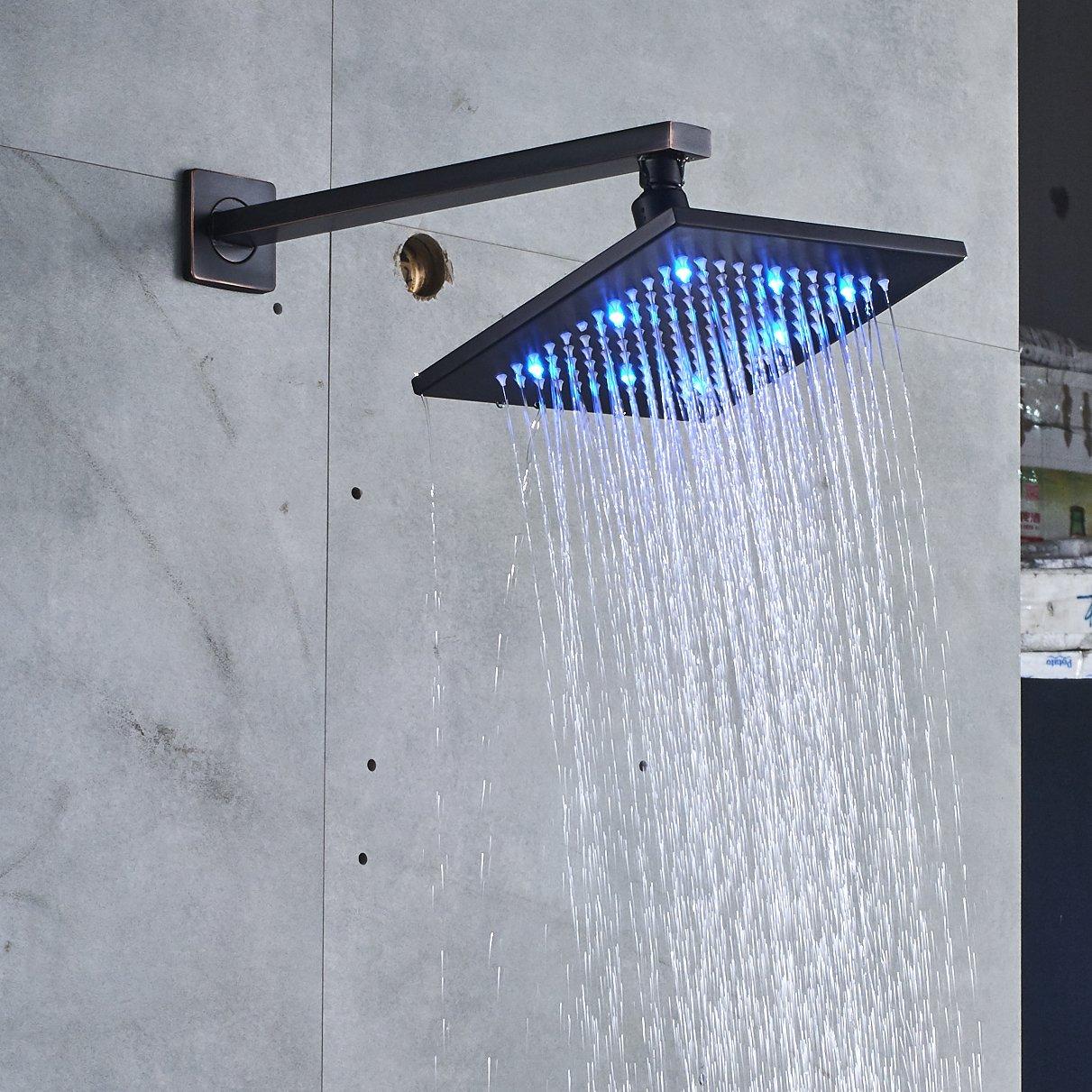 Rozin Bathroom LED Light Top Rainfall Shower Set 8-inch Showerhead + ...