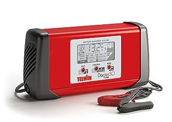 Telwin TE-807586 Cargador de Bateria, Rojo y Negro