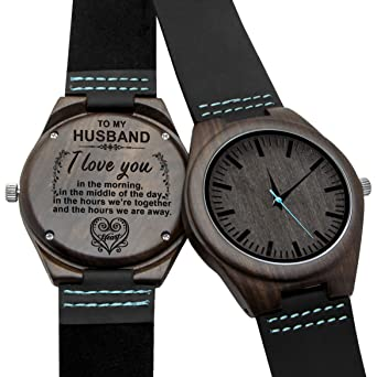 Engraved Wooden Watches Personalized Gifts for Son, Father,Lovers Birthday,Anniversary Day,