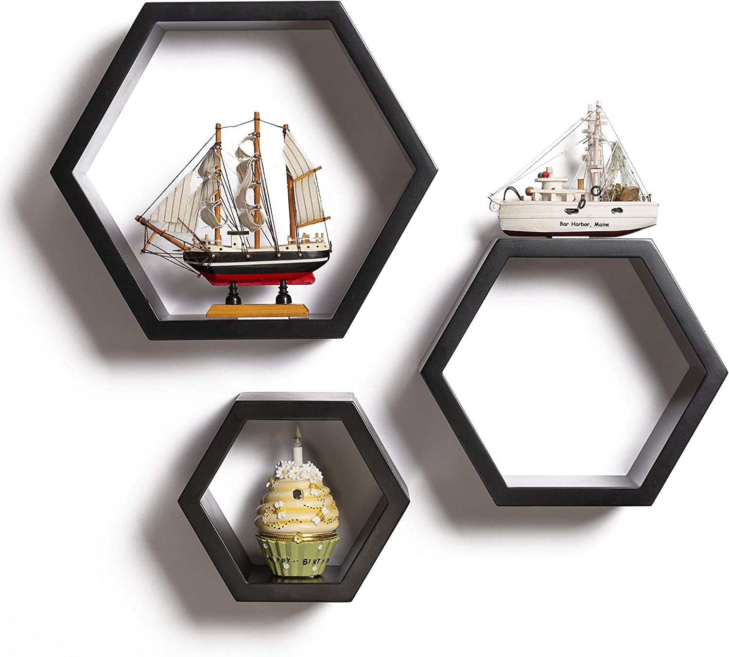 Hexagon Floating Shelves – Modern Honeycomb Shelves – Wall Mounted Geometric Wood Decor for Living Room, Kitchen and Bedroom – Screws and Anchors Included (Black, Set of 3)