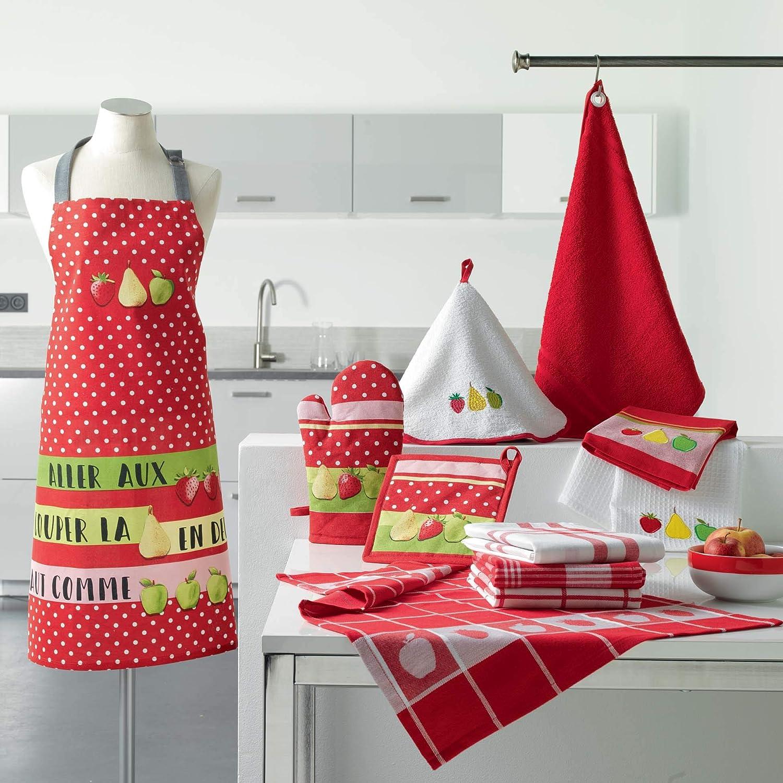 douceur dint/érieur 2 torchons 50x70 cm coton charlotine rouge