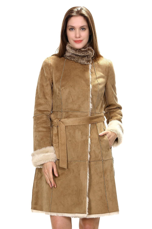 Adelaqueen Künschtlischer Kamelfarbender Caban-Mantel Mit Stehkragen Aus Kunstwildleder Faux Fur Damenmantel