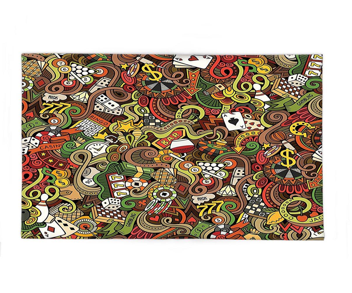 Interestlee Fleece Throw Blanket Casino Decorations Doodles Style Art Bingo Excitement Checkers King Tambourine Vegas by Interestlee
