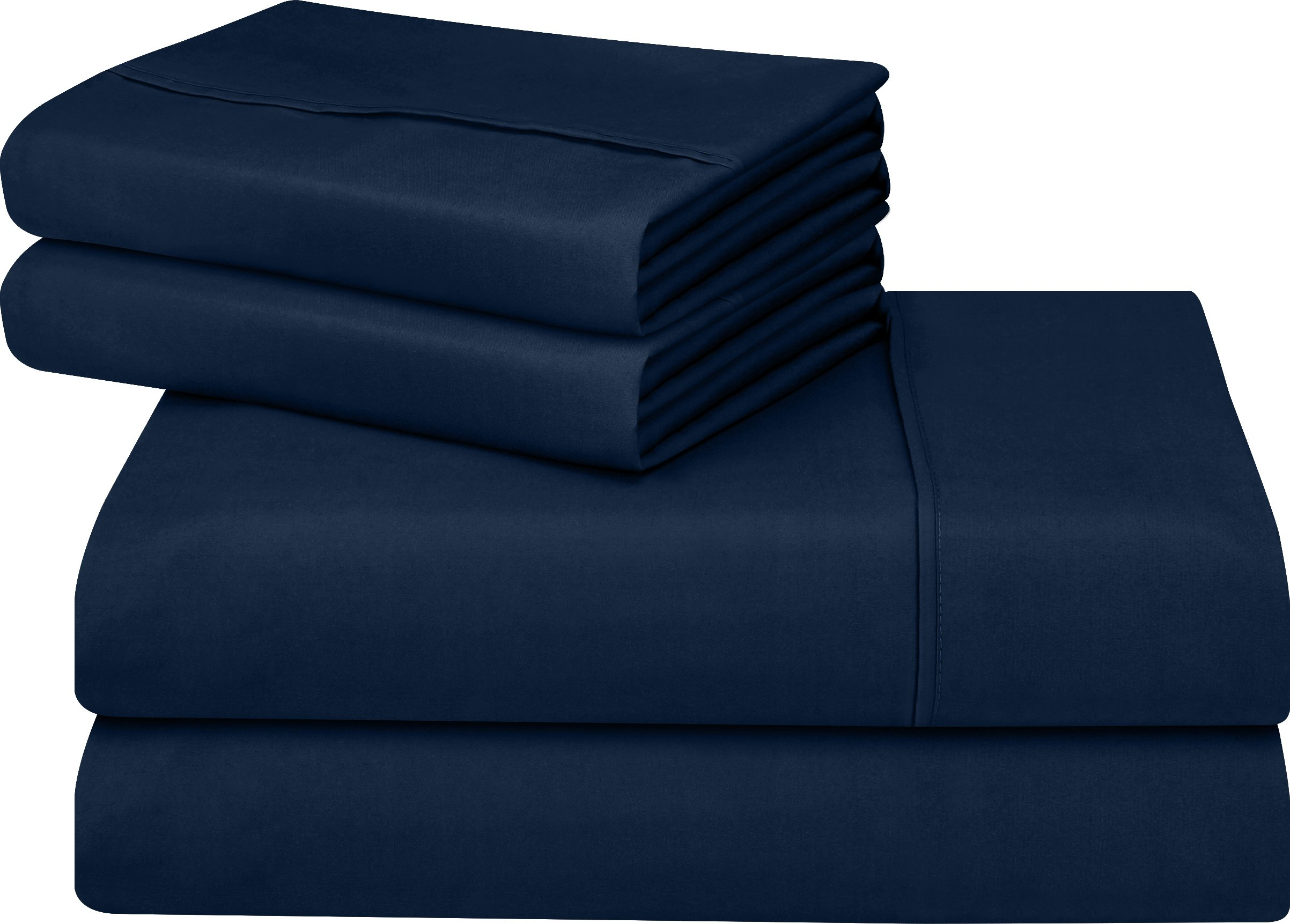 Utopia Bedding Soft Brushed Microfiber Wrinkle Fade and Stain Resistant 4-Piece Queen Bed Sheet Set - Navy