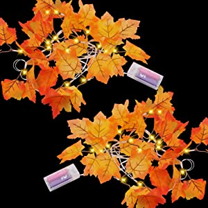 Lighted Fall Garland (2 Pack), 9 Feet Maple Leaves String Lights with 20 LED Warm White Lights, Fall Leaves Garland, Thanksgiving Decoration for Home Indoor Autumn Harvest Holidays