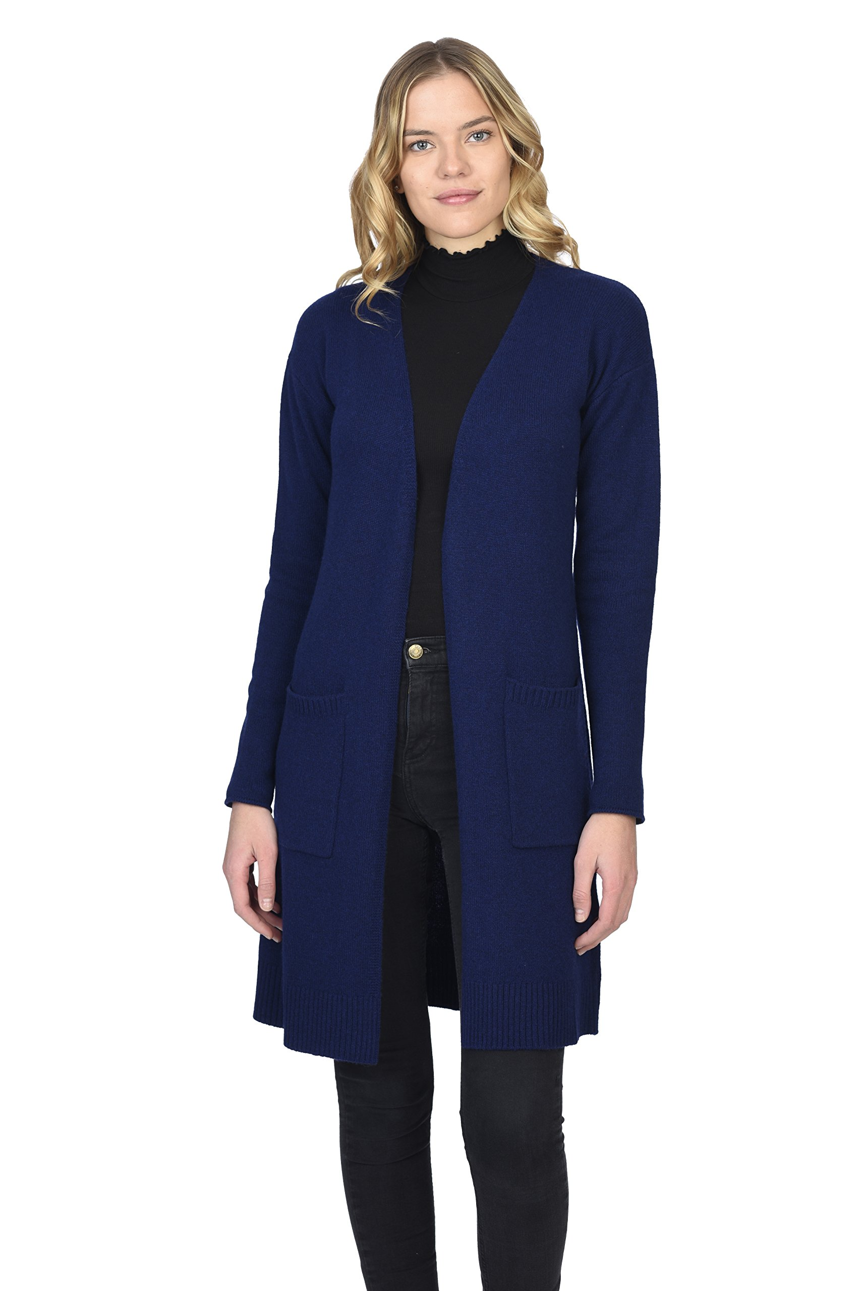 State Cashmere Women's 100% Pure Cashmere Open Front Long Cardigan, Navy, Medium by State Cashmere