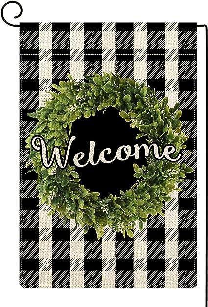Welcome Buffalo Boxwood Wreath Fall Garden Flag Autumn Burlap Outdoor Decor SR