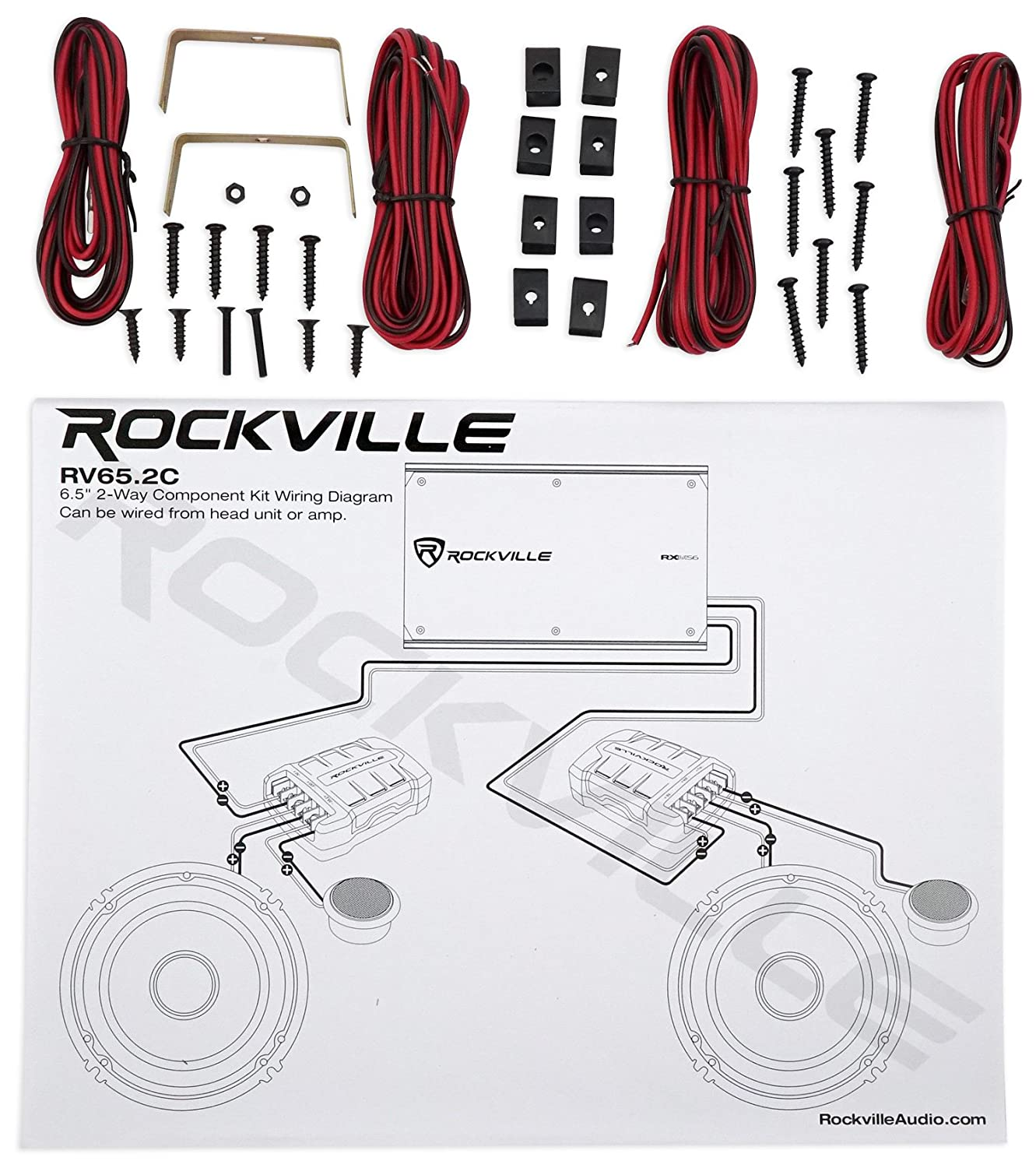 Pair Rockville Rv652c 65 Component Speakers Coaxial 2 Way Speaker Wiring Diagram 4 Ch Amplifier Wires Car Electronics