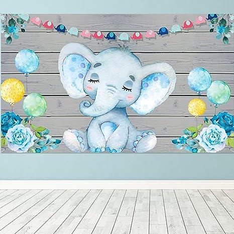 Banner Elefante Azul Suministro Decoración Ducha Bebé, Tela ...