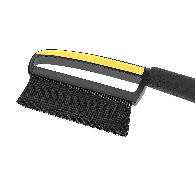 AUPROTEC Brosse /à Neige couleur noir-jaune Grattoir /à Glace 2in1 avec Poign/ée antid/érapante de confort Gratte-givre et Balai pare brise Outil dhiver ASE 1