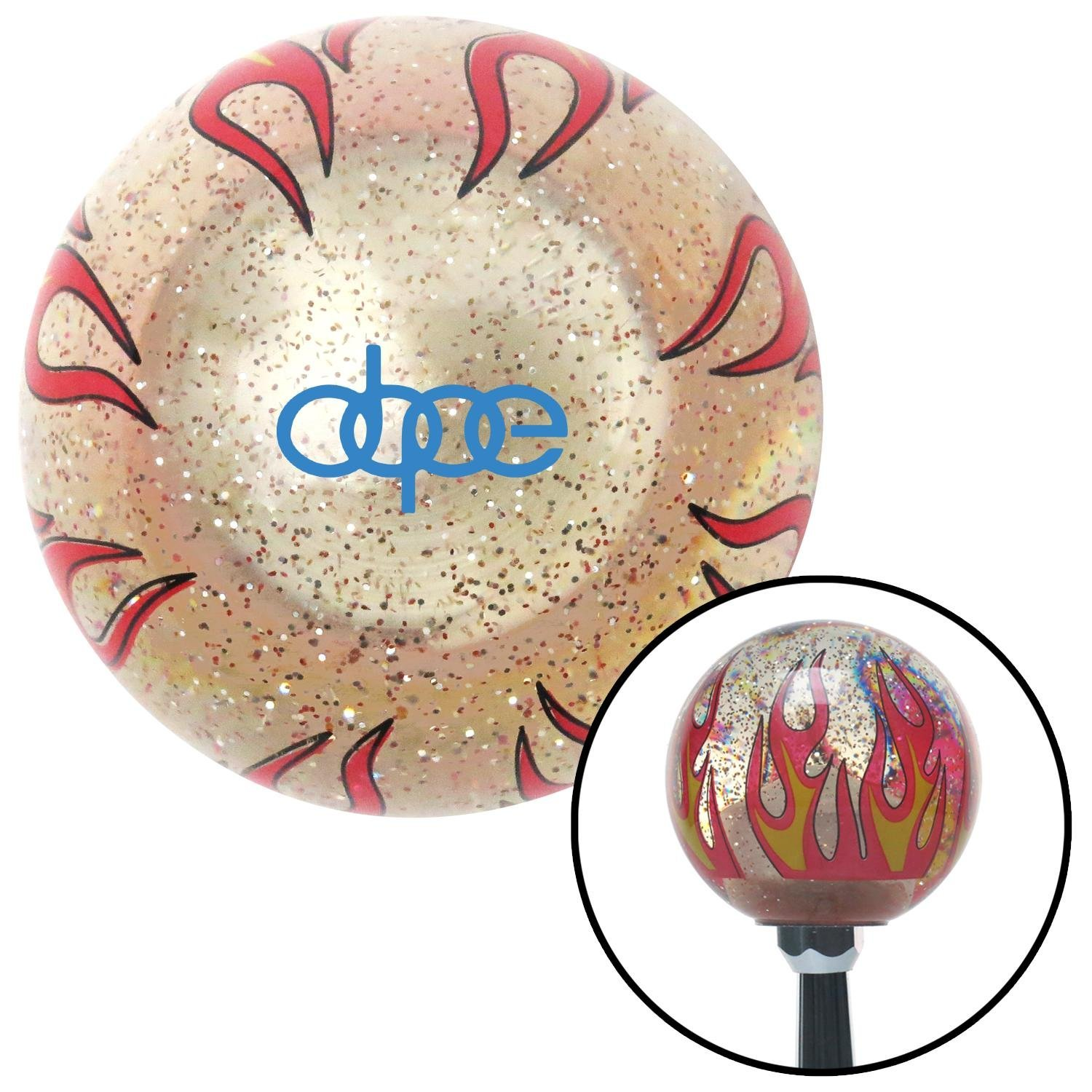Blue Dope Clear Flame Metal Flake with M16 x 1.5 Insert American Shifter 296198 Shift Knob