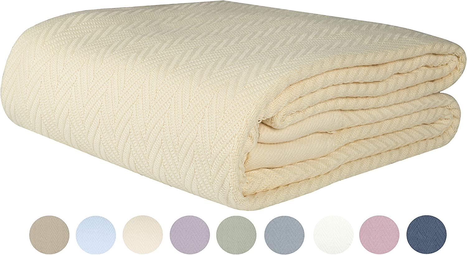 Threadmill Home Linen 100% Cotton Blanket Herringbone Soft Breathable Full/Queen Size Natural