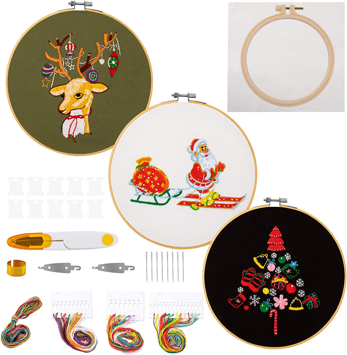 JARLINK 4 Pack Embroidery Starter Kit with Instructions, Cross Stitch Kit for Adults Beginners, Including Embroidery Hoops, Embroidery Cloth with Christmas Pattern and DIY, Color Threads and Tools