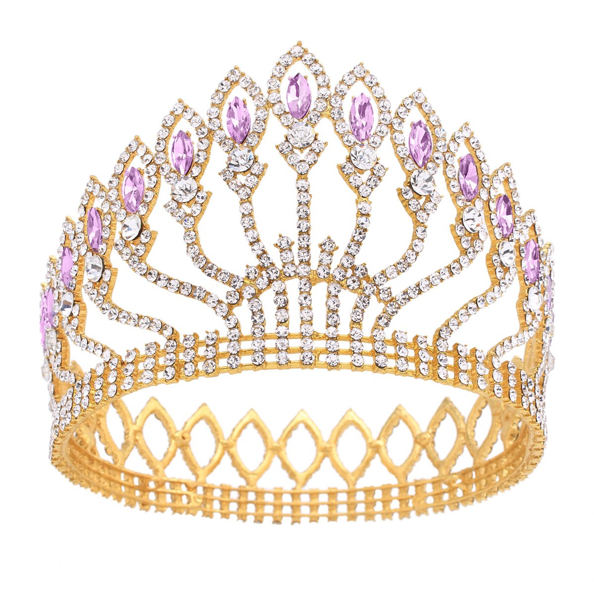 Stuffwholesale Marquise Crystal Crown Women Girl Queen Tiara Banquet Party Headwear (Gold/Purple)