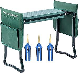 VIVOSUN Portable Garden Kneeler Seat and 3-Pack Gardening Hand Pruner