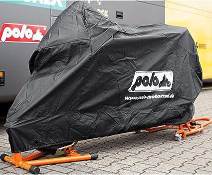 Polo Motorradabdeckung Motorradplane Motorradgarage Outdoor Abdeckplane Robust Hitzefest Bis 200 C Gummizug Lackschonend Schwarz Größe L 280 152 100 Auto