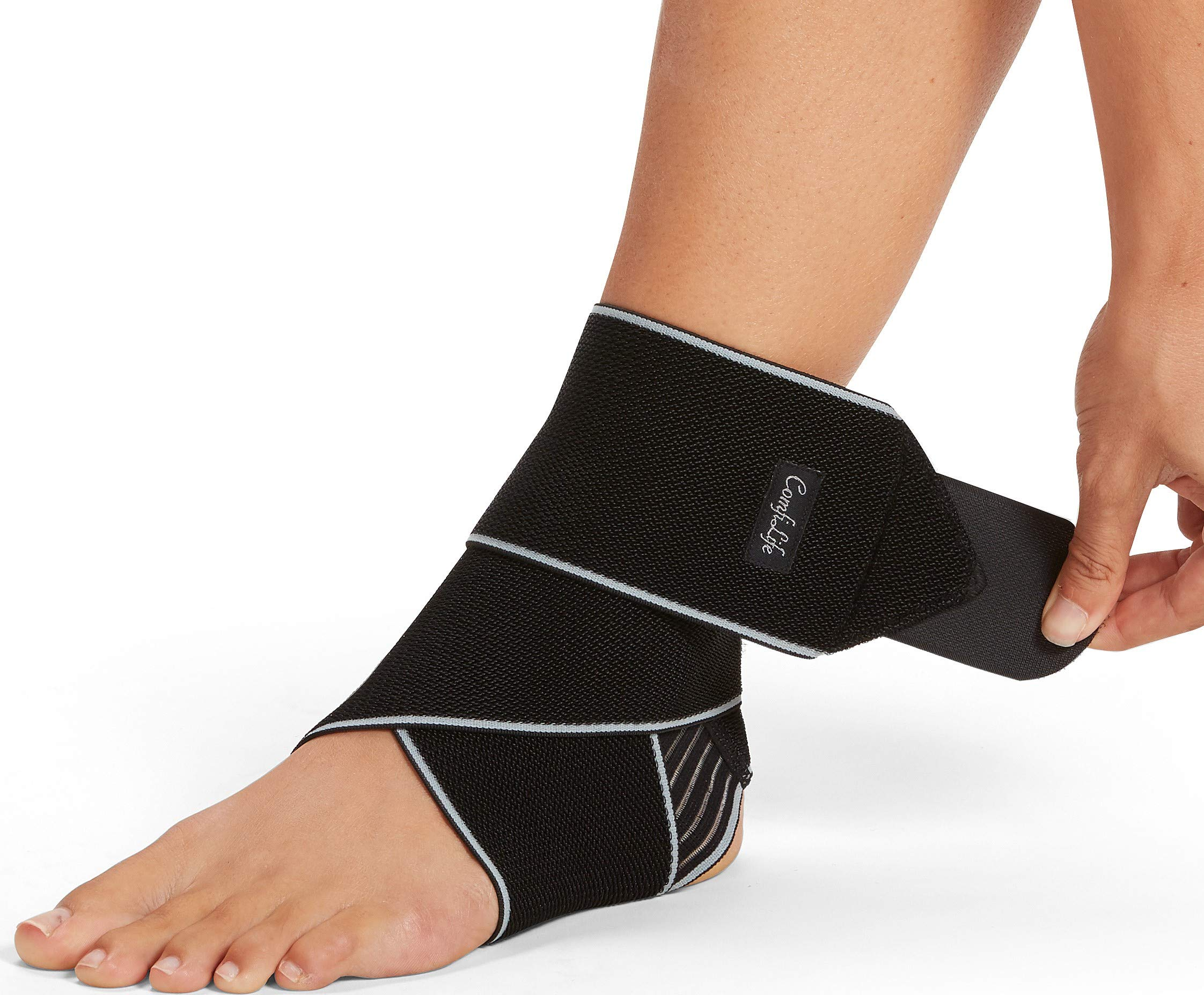 ComfiLife Ankle Brace for Men & Women - Adjustable Compression Ankle Support Wrap - Perfect Ankle Sleeve for Plantar Fasciitis, Achilles Tendon, Minor Sprains, Sports - Breathable, One Size Fits All by ComfiLife