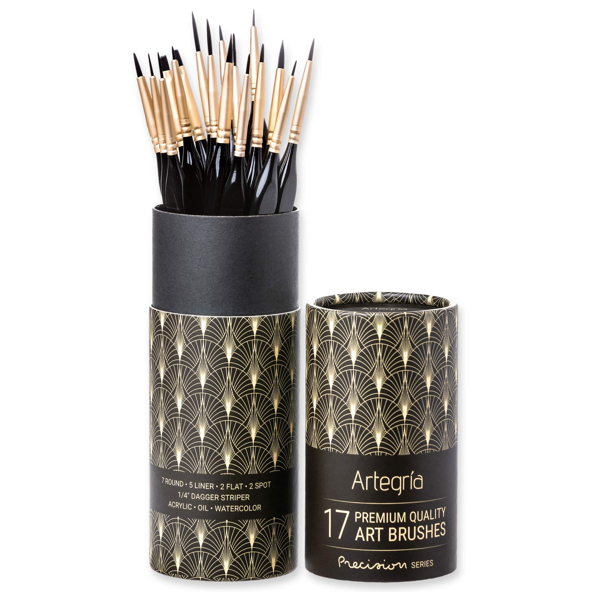 Miniature Paint Brush Set by Artegria - 17 Fine Detail Art Brushes for Acrylic Watercolor Oil with Ergonomic Handle and Travel Bag - Model Painting by Numbers Craft Scale Face Nail Artist Supplies Kit by Artegria