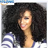 """Synthetic Wigs Black Natural Colour Heat Resistant Kinky Curly 100% Heat Resistant Fiber Kinky Curly Free Style 24"""" Long Hair Natural Looking Fahion Wig Replacement for Women with Gift"""