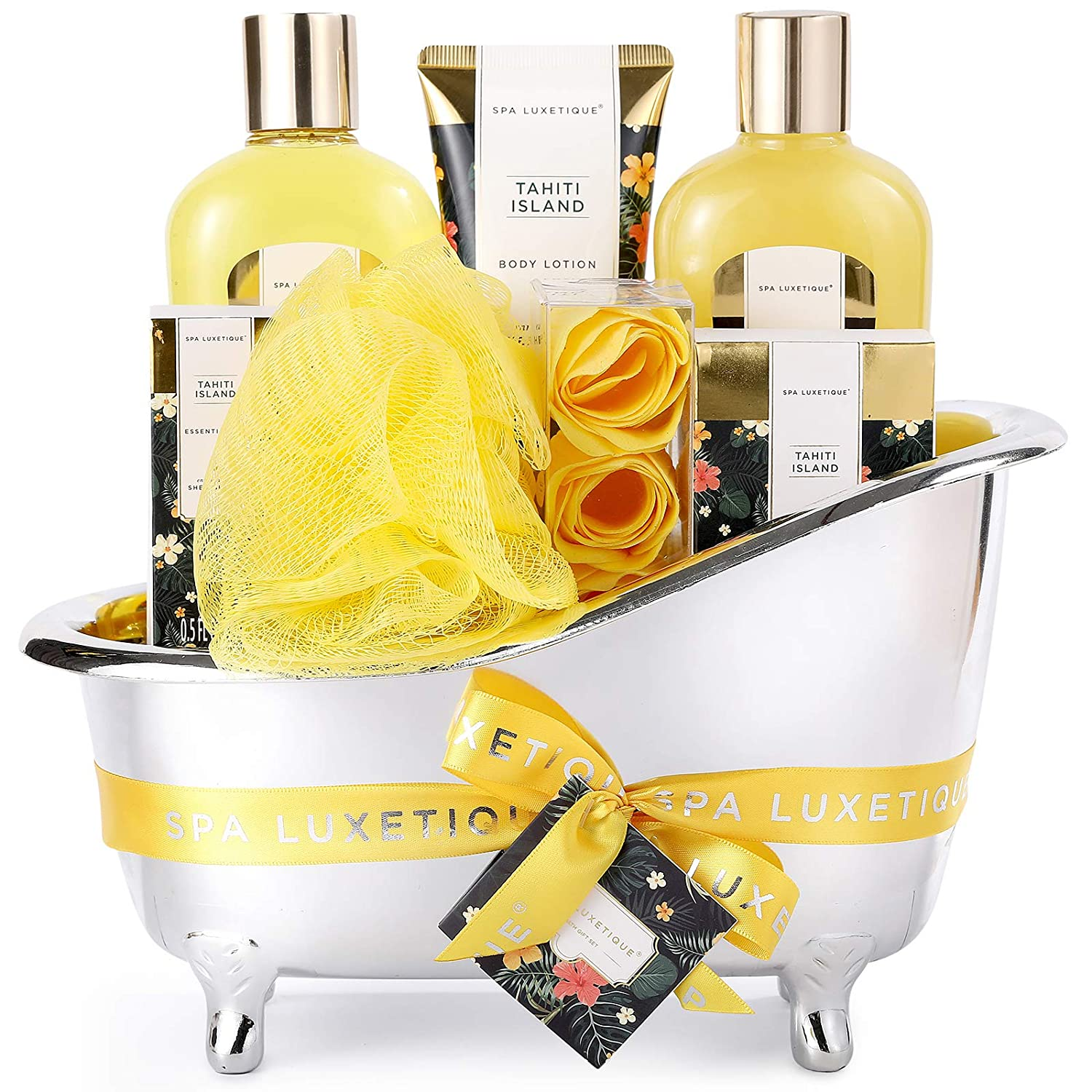 Gift Baskets for Women, Spa Luxetique Spa Bath Set, 8 Pcs Bath and Body Gift Set with Shower Gel, Bath Salt, Essential Oil, Luxury Christmas Gifts, Beauty Gift Set for Women
