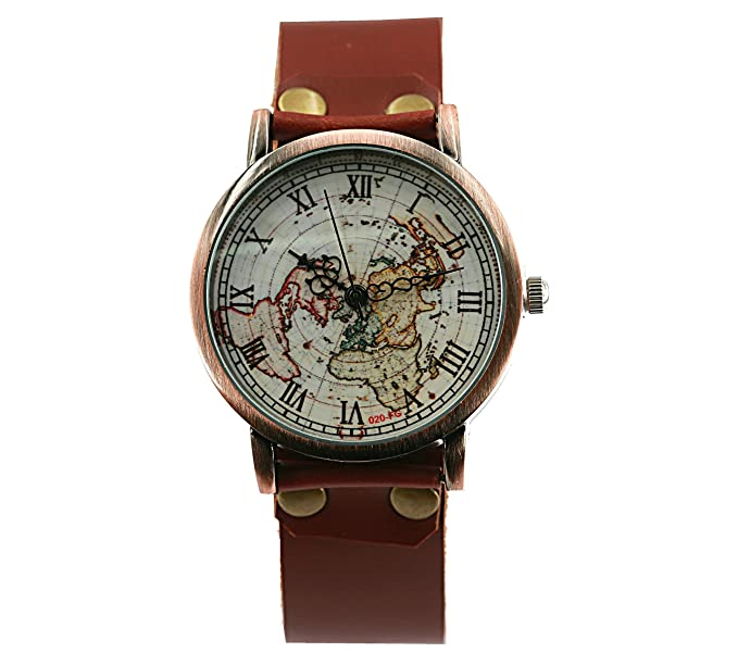 Amazon brown leather watch world map watches vintage map brown leather watch world map watches vintage map watch christmas gift gumiabroncs Choice Image