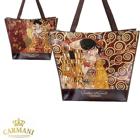 Carmani - Bolsa de compras ecológica reutilizable impresa con Gustav Klimt El Beso y Adele