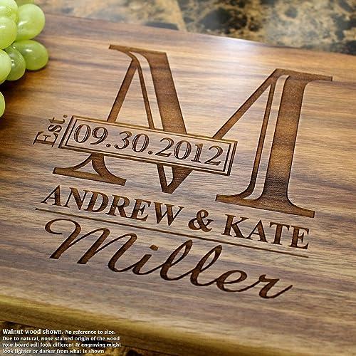 amazon com monogram personalized engraved cutting board wedding