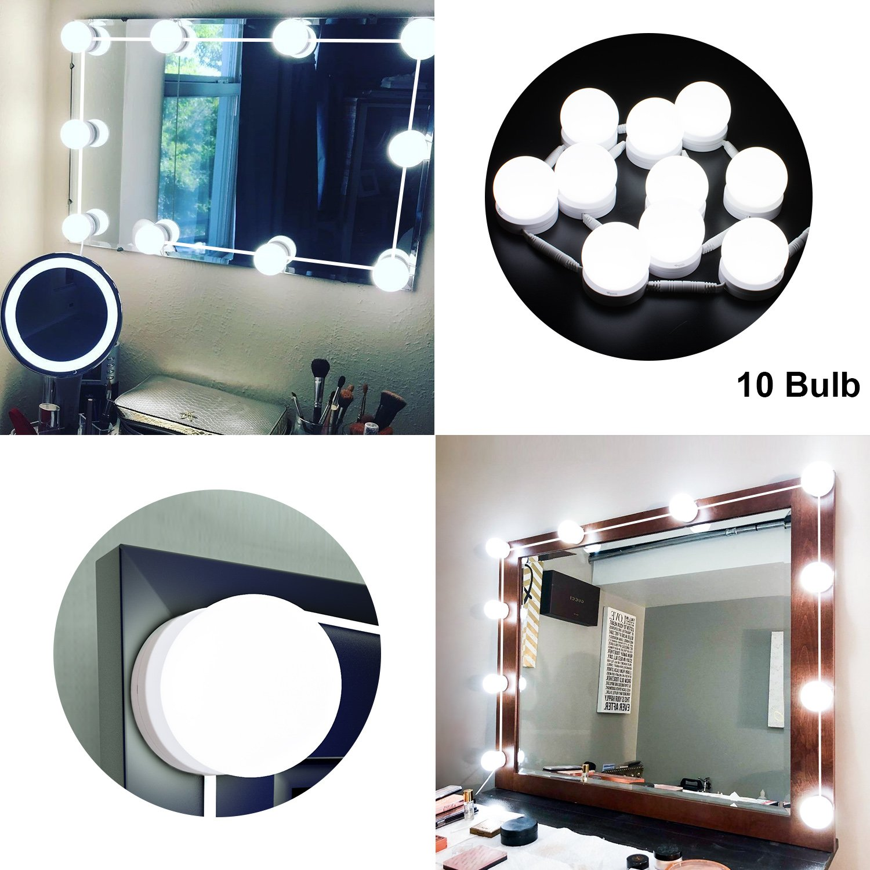 LED Vanity Mirror Lights Kit with Dimmable Light Bulbs, LED Mirror Lighting Fixture Strip for Makeup Vanity Table Set in Dressing Room, 6000K Daylight White Vanity Lights (10 Light Bulbs)