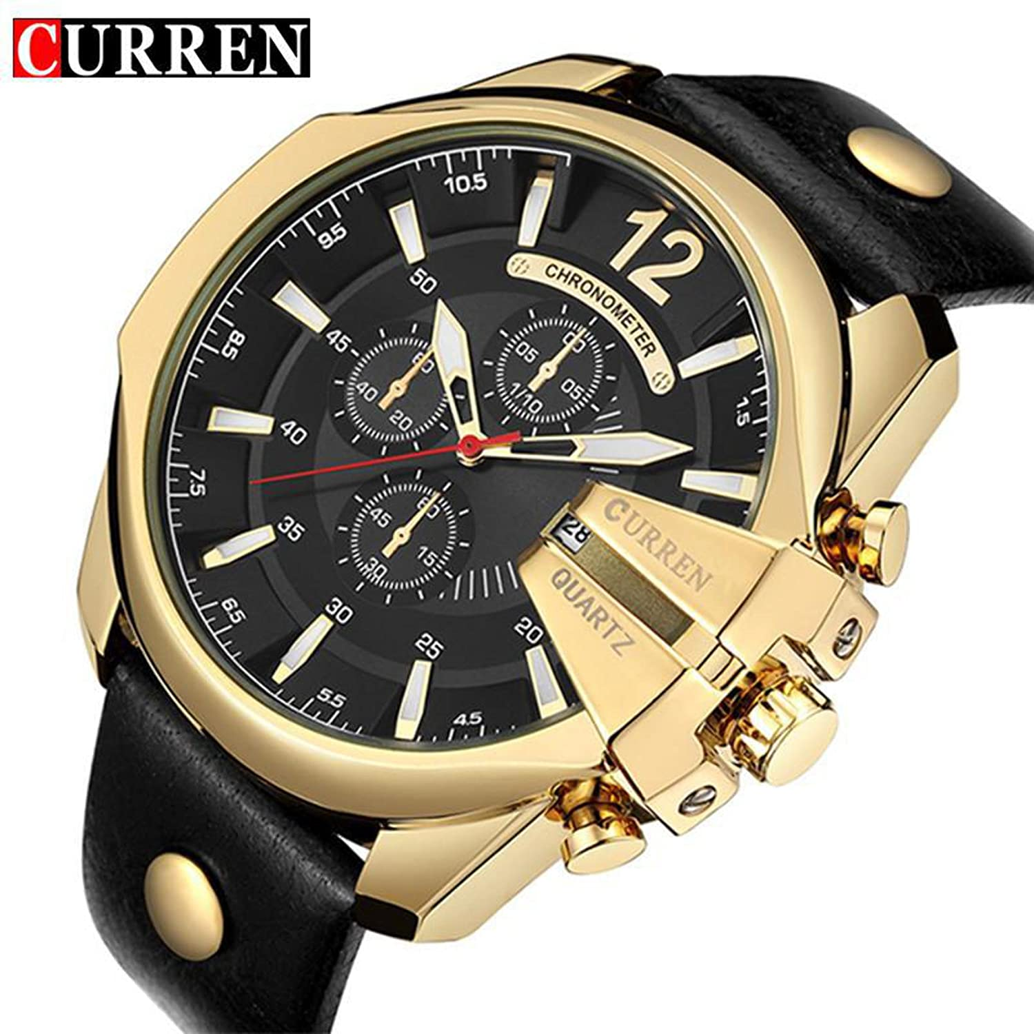 Amazon.com : CURREN Mens Sports Quartz Watch Men Top Brand Luxury Designer Watch Man Quartz Gold Clock male Fashion Relogio Masculino Date : Everything ...