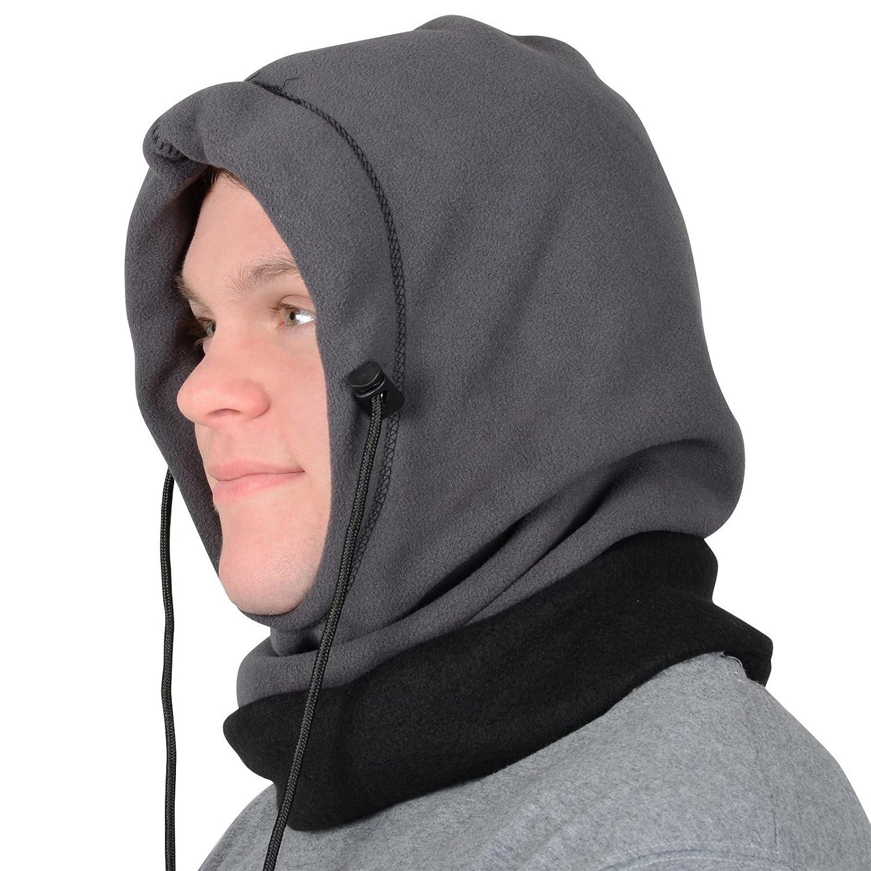 Erwachsenen 6-in-1 Polar-Fleece Mütze Kapuze Sturmhaube Kopfmaske Skimütze Schal