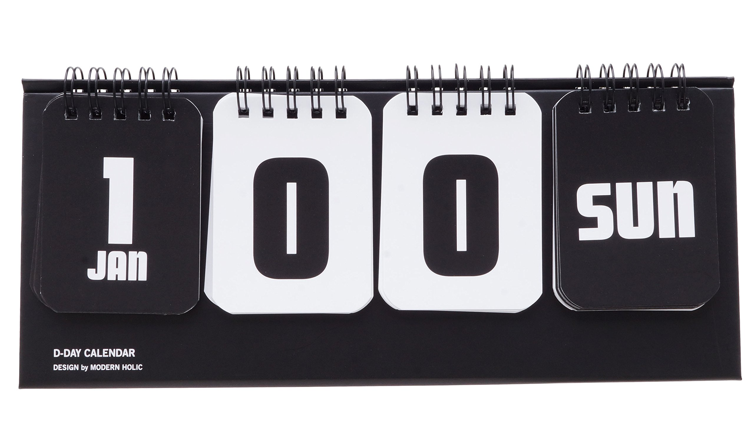 D-Day Calendar, Perpetual Calendar, Table Standing, Cute Illustration, Baby Development Stages (Black)
