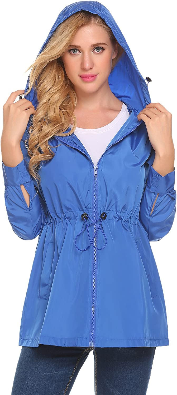 SummerRio Womans Long Sleeve Lightweight Windbreaker Outdoor Active Raincoat Jackets Hooded