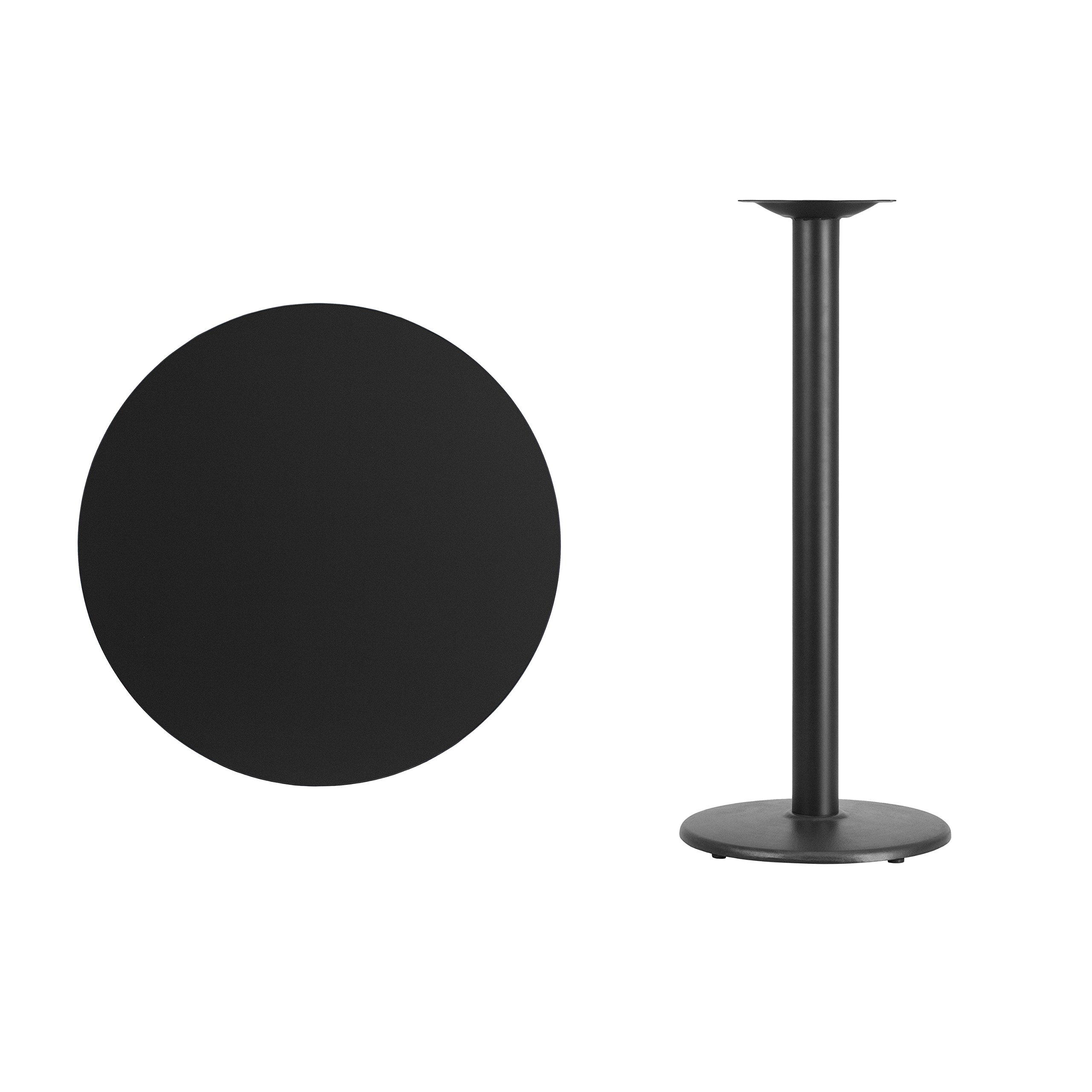 Flash Furniture 30'' Round Black Laminate Table Top with 18'' Round Bar Height Table Base