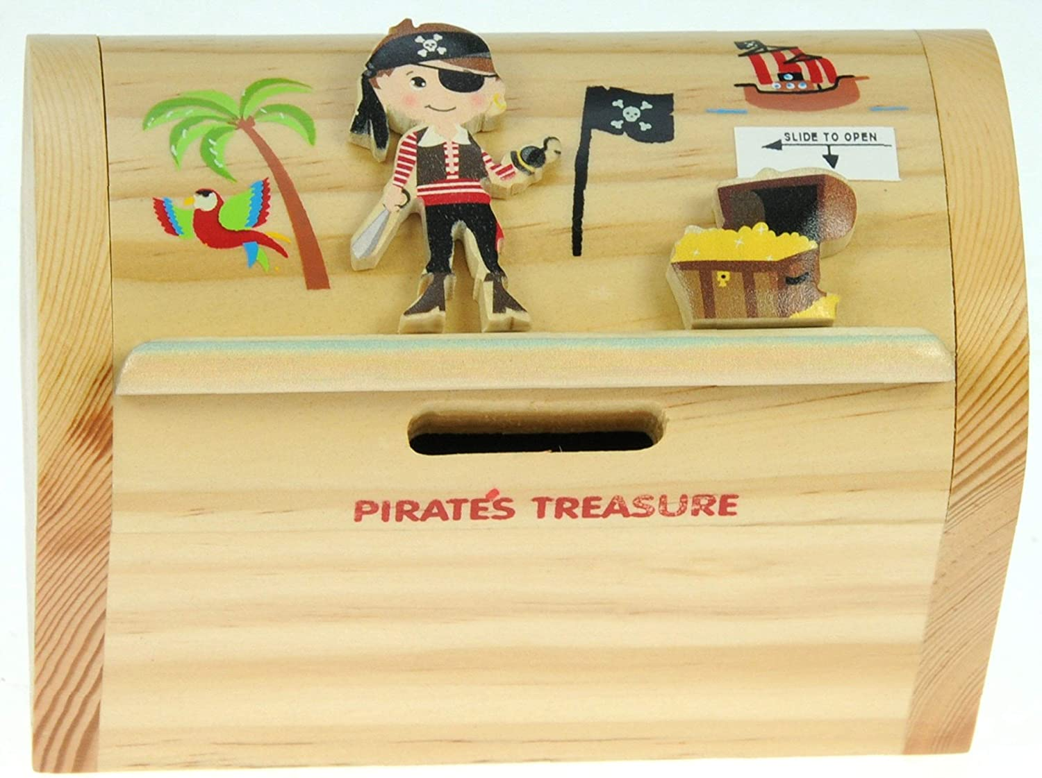 Pirate with Secret Lock Size 12 x 9 x 7cm Namesakes Childrens Money Box Piggy Bank for Kids /& Adults Wooden Toy For Boys /& Girls